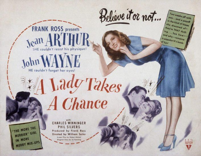 Poster of JOhn Wyane Jean Arthur in A Lady Takes A Chance