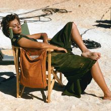 Sophia Loren on the set of Legend of the Lost with John Wayne