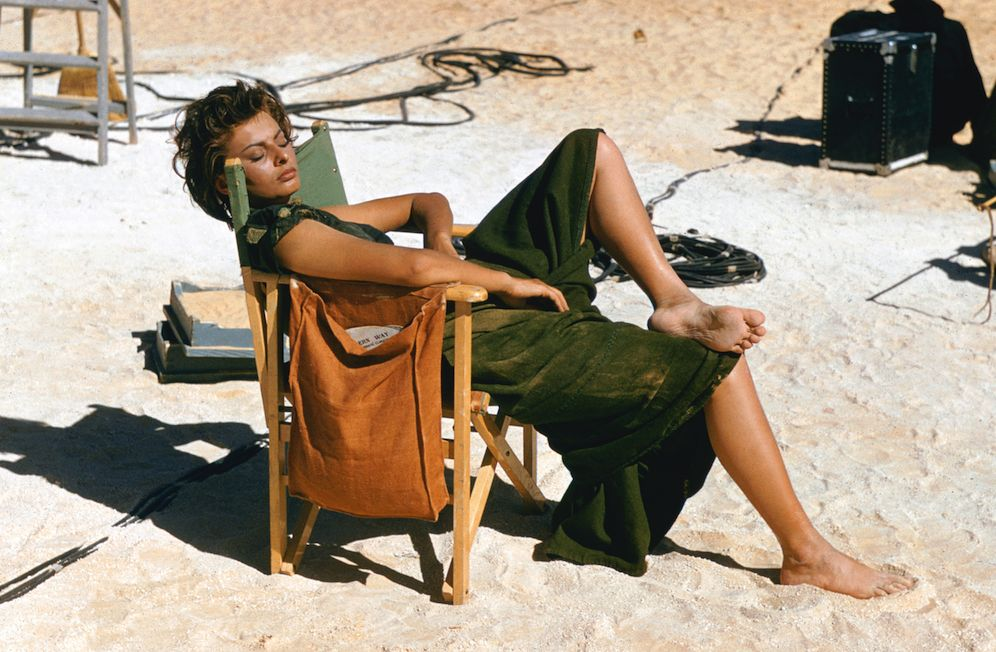 Sophia Loren on the set of Legend of the Lost with John Wayne