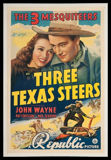 Three Texas Steers movie with John Wayne poster