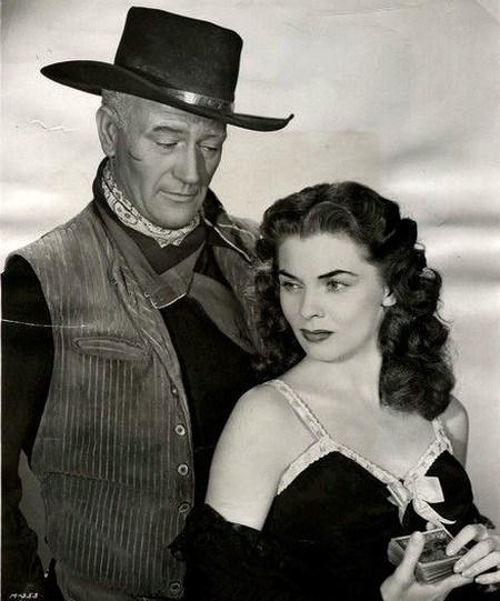 Joanne Dru with John Wayne pic