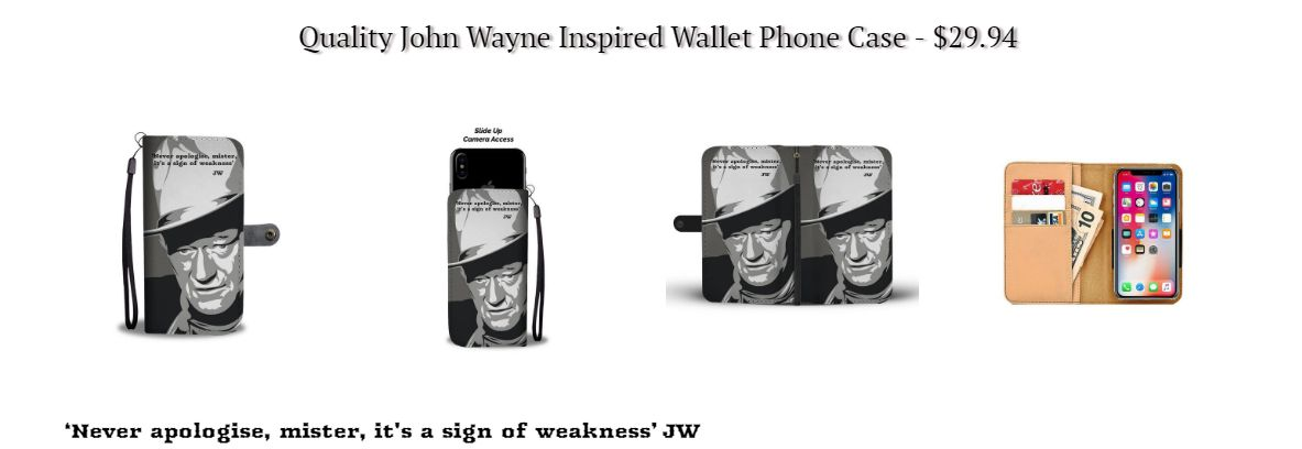 John Wayne movies quotes inspired wallet phone case