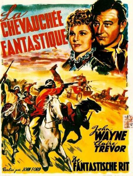French poster for Stagecoach with Claire Trevor and John Wayne