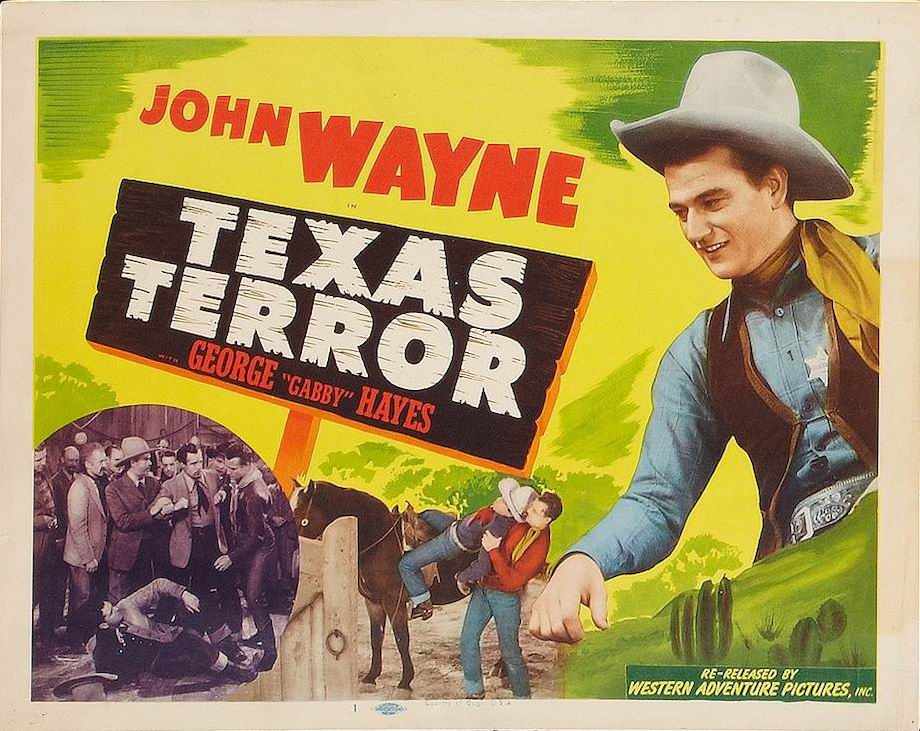 John Wayne in 1935 western Texas Terror lobby card
