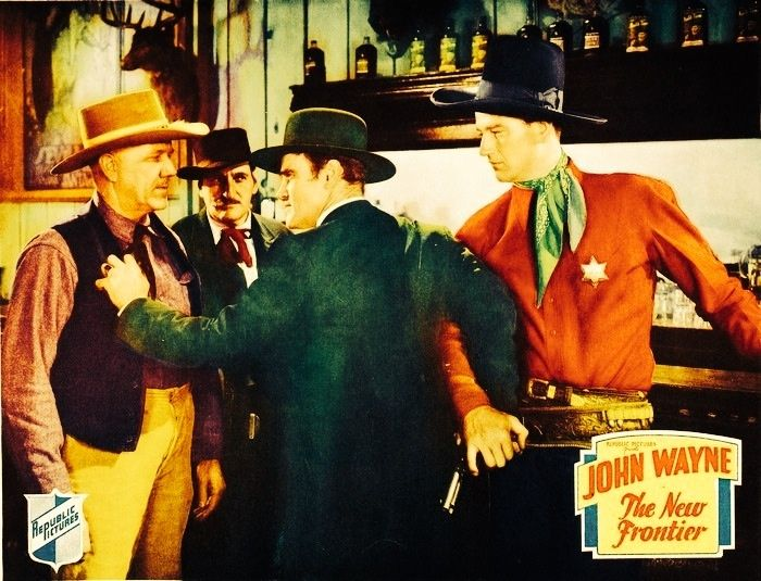 John Wayne movie lobby card for The New Frontier