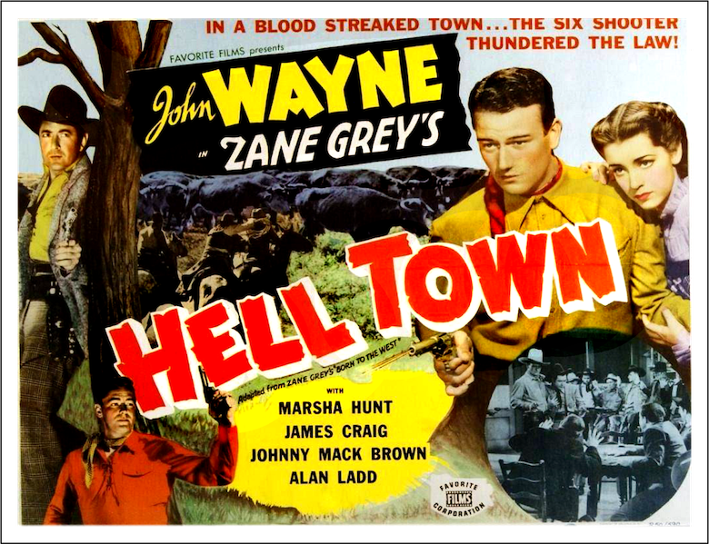 Hell Town 1937 movie with John Wayne lobby card