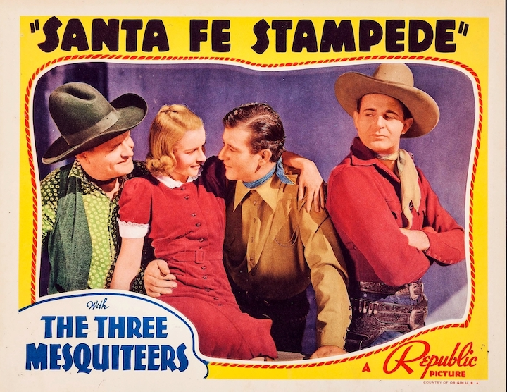 Movie lobby card for Santa Fe Stampede with John Wayne 1938