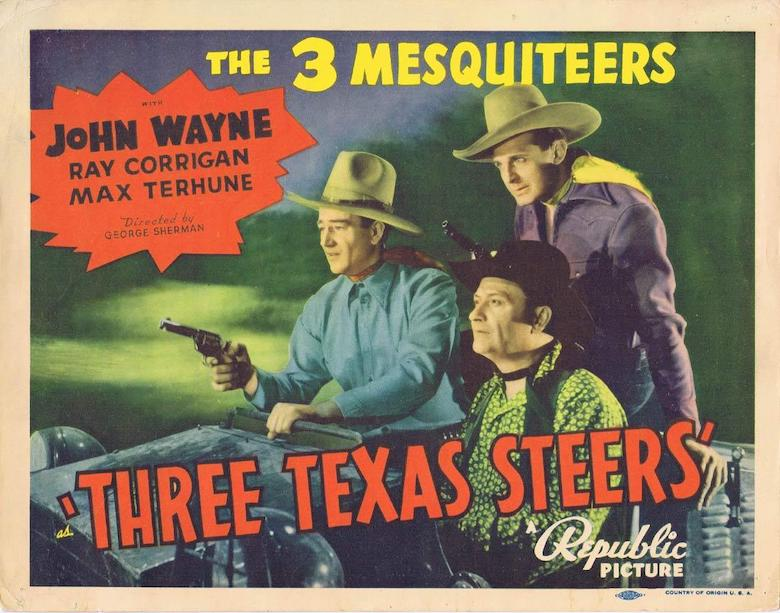 Three Texas Steers movie with John Wayne lobby card