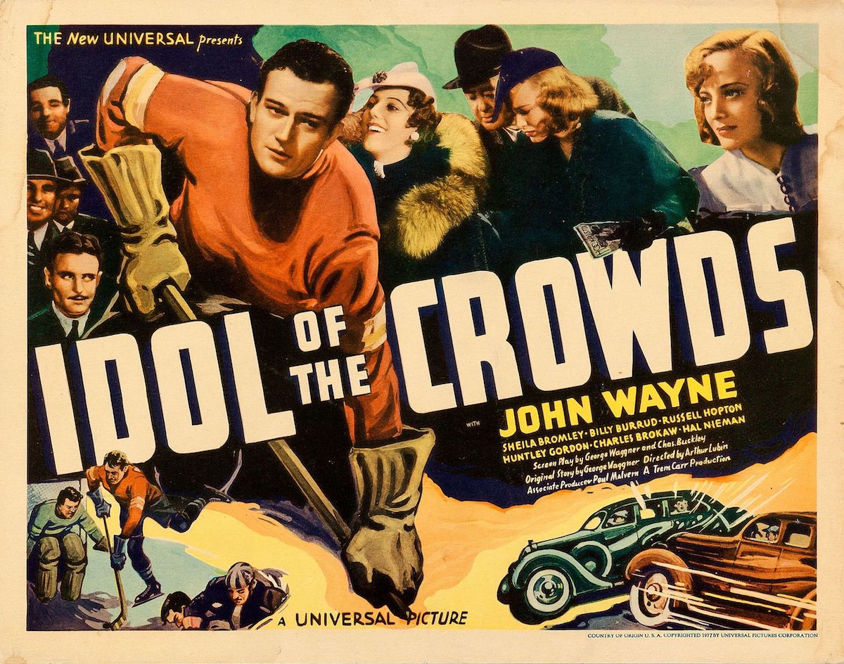 Lobby card of Idol of the Crowds with John Wayne