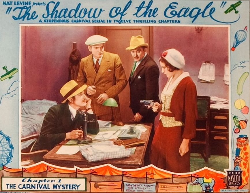 Lobby card for Shadow of the Eagle starring John Wayne
